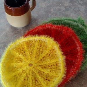 handmade crochet kitchen citrus scrubbies